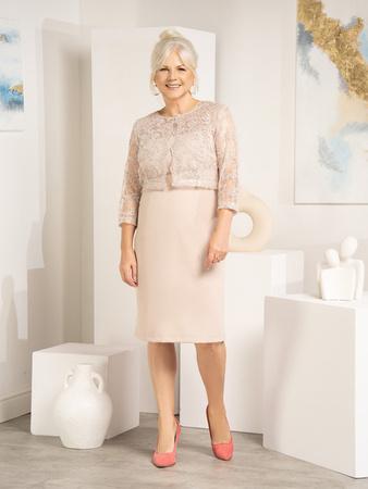 4ac9187aca Beżowa sukienka z krótkim