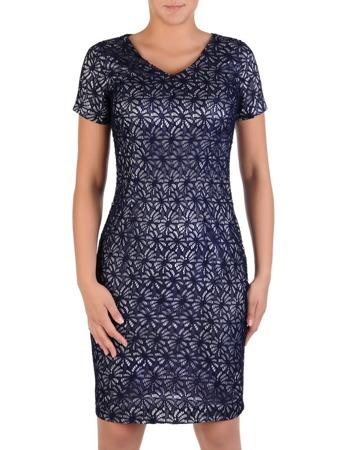 82b22a85be Elegancka sukienka koktajlowa z satyny i koronki Astryda.