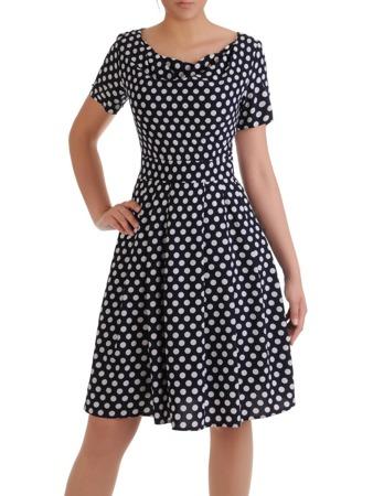 f2da16ec58 Rozkloszowana sukienka w groszki 16627
