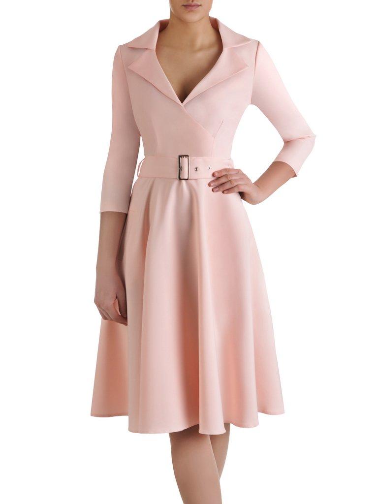 094b9e008d Rozkloszowana sukienka z modnym kołnierzem 14899