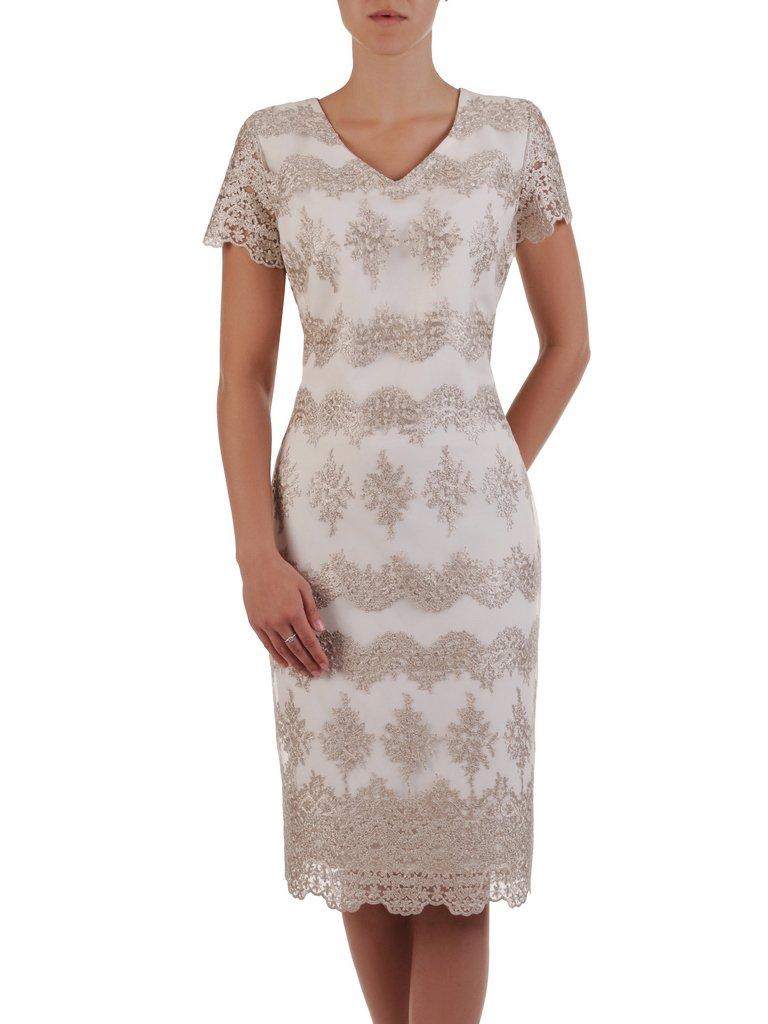 92ed482a Prosta sukienka z połyskującej koronki 16716, elegancka kreacja na ...
